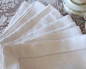 Linen Napkins Set of Six Vintage Damask, Large Size, Wedding Formal Tea Dinner Party Bridal Shower