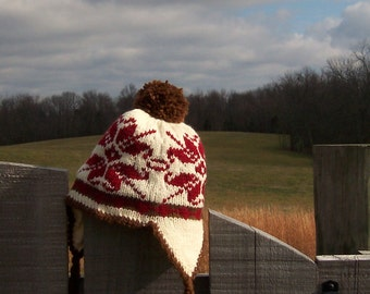 Alpine Style Snowboarding Hat Hand Knit ON SALE Now - Child, ear flaps lined with flannel - Fair Isle pattern