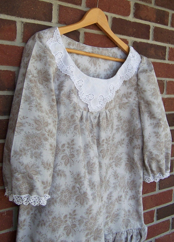Women's Peasant Blouse ON SALE Prairie Shirt featuring Vintage Hanky and Lace Beige Taupe White size XL