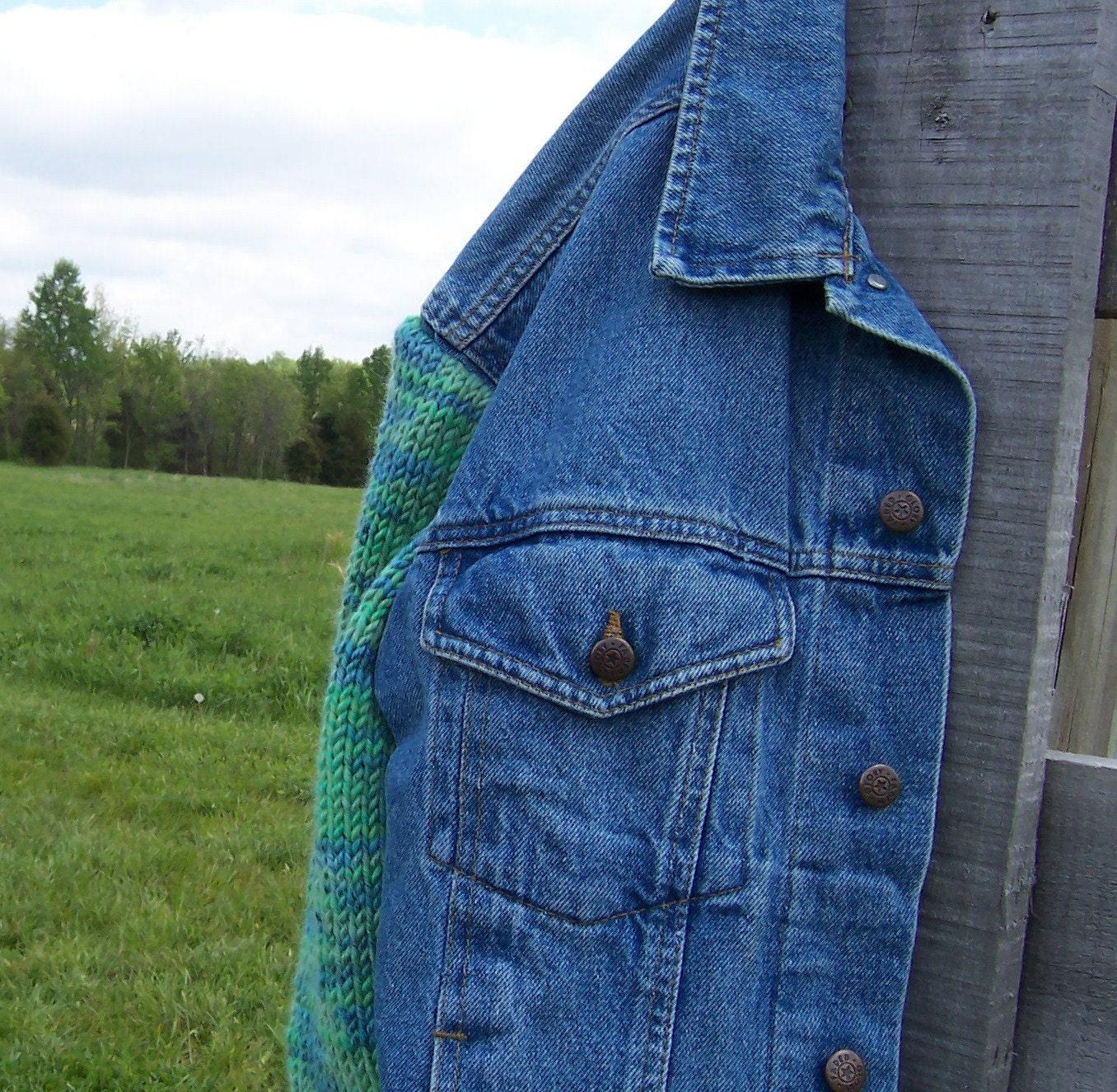 Denim Jacket Knitting Pattern : Denim Jacket Hand Knit Sweater Sleeves Upcycled Blue Jean