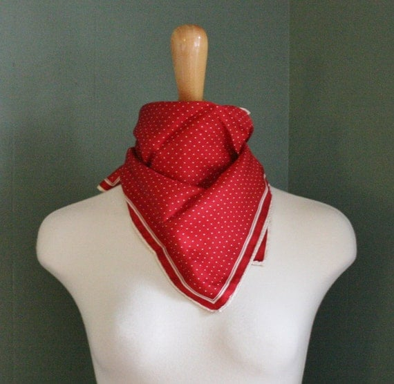 Vintage Ashear POLKADOT Scarf - 1960s Nautical Pattern - Red and White