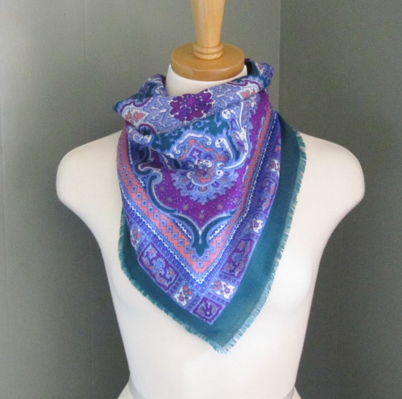 Vintage 70s Glentex Scroll Scarf - Green Blue Purple