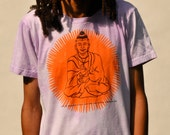 Hand Dyed Screen Printed Golden Buddha Design, Mens Medium on American Apparel 100% Cotton