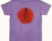 Screen Print Shirt Golden Buddha Design on American Apparel 100% Cotton FREE SHIPPING