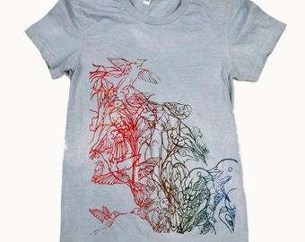 Graphic Tee Silk Screen Birds Shirt on American Apparel Womens Clothing