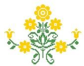 Yellow Flowering Vine Motif Cross Stitch Kit