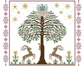 World Tree Cross Stitch Pattern PDF - Multicolor Yggdrasil with deer eagle squirrel flowers stars - Instant Download PDF