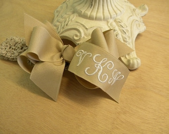 HAIR BOW BOUTIQUE Style Custom Made monogrammed grosgrain hairbow