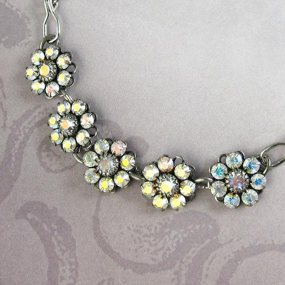 Rhinestone Bridal Bracelet  Iridescent Aurora Borealis Crystal Perfect for Weddings and Bridesmaids Bridal Wedding Bridesmaid Jewelry
