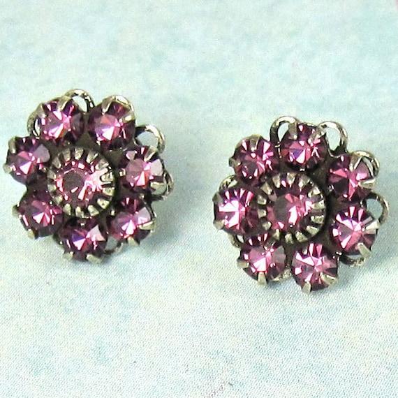 Purple Rhinestone Post Earrings Bridal Earrings Amethyst Swarovski Flowers Bridal Wedding Bridesmaid Jewelry