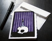 """Greeting Card, """"Skull with Candle, Purple"""""""