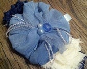 Baby Girl or Toddler, Infant Flower Headband. Royal Blue, Baby Blue, Cream, Pearl