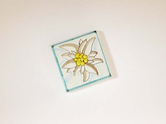 Magnetic Fridge Tile with Edelweiss Design - Handmade