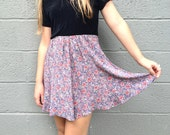 90s floral grunge high waisted a-line skirt small