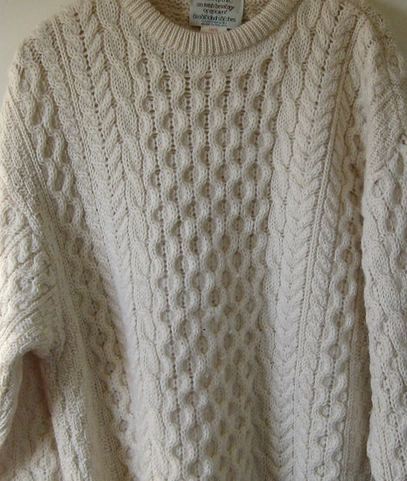Cladyknit Traditional Irish Fisherman's Sweater - Pure New Wool - Thick Honeycomb Cable Knit - L