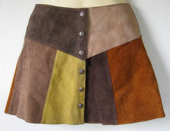 Beautiful Vintage Suede Patchwork Mini Skirt - 1970s  Boho HIppie Western