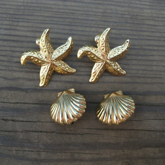 Vintage Starfish and Clam Shell Gold Tone Clip On Earrings