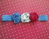 "3.75"" Rolled Flower Headband, Red, White & Blue Cotton, The Victory"