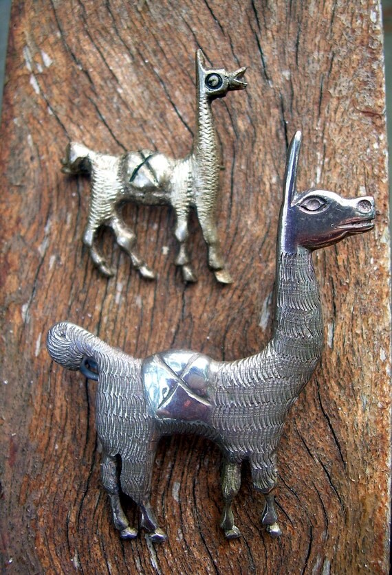 Pair of Llama Pins Mother and Baby Sterling Silver .925