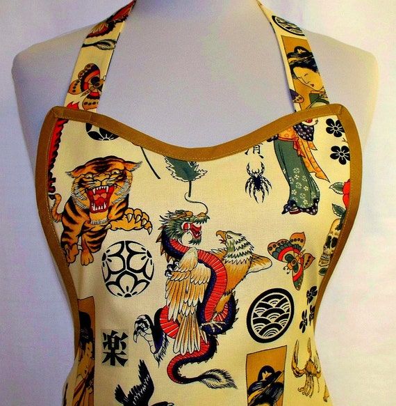 Apron ZEN Tattoo Inked, Year of the Dragon, Oriental Asian Geisha Tiger, Special Unique Kitchen Gift