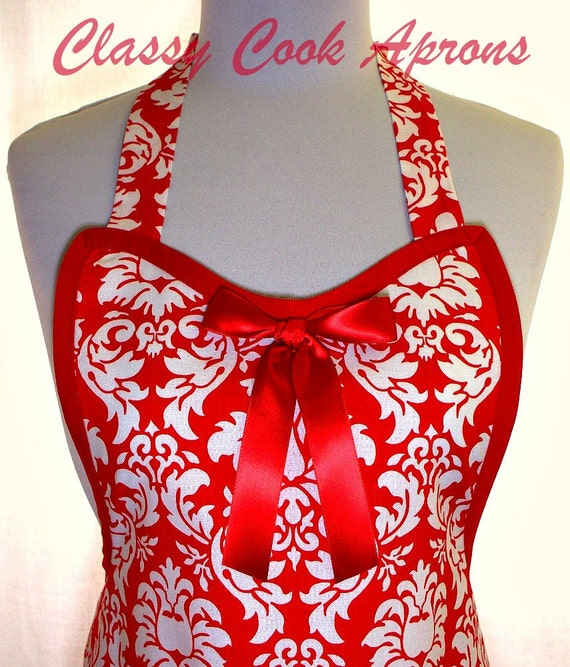 Apron Holiday Red & White Damask, Glamour Girl Gorgeous, Hostess Pretty Party Unique Gift