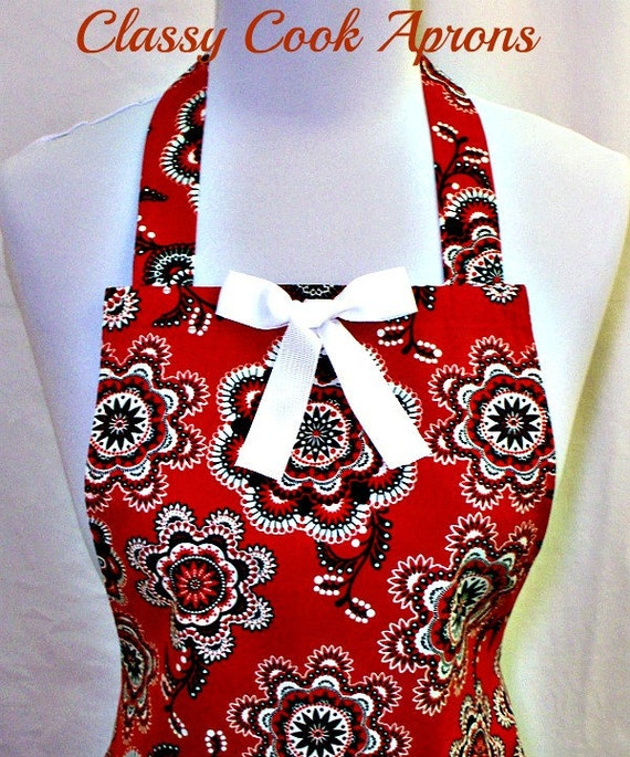 Apron Red White & Black, BANDANA Print, Way Out West, Ruffled Flounce, Pretty Party Hostess, Kitchen Gift