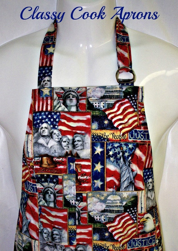 Apron Mans, National Monuments, Patriotic America, US Flags, Stars & Bars, BBQ Grill Fun Gift