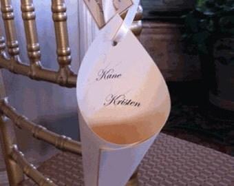 75  Ivory Card stock Elegant Ribbon Hanging Petals Cones