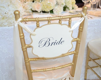 JUST THE BRIDE Chair Signs 1 sign, Just The Bride, shower chair signs