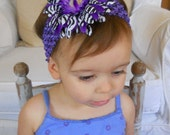 Purple Headband w/Zebra Daisy Clip