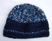 Beanie hat -crochet boucle cotton and acrylic blend.  hand-spun yarn denim Blue and casual heathered white