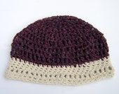 Beanie hat -crochet recycled cotton yarns, navy blue, wine red, and natural white open weave