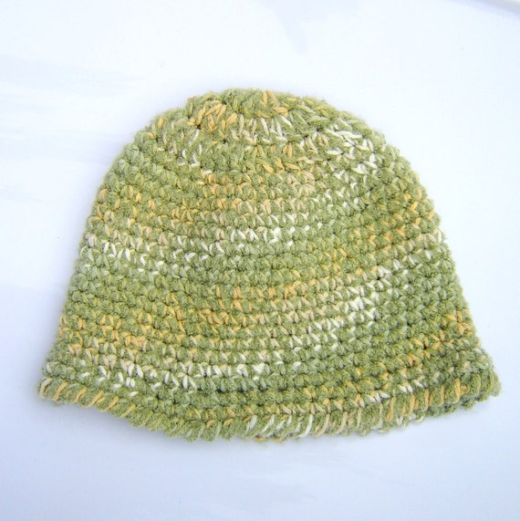 Sage Green Crochet Cloche Hat with variegated soft and warm mustard yellow autumn green