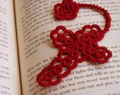 The Cross and the Rose - Tatted Bookmark in Red