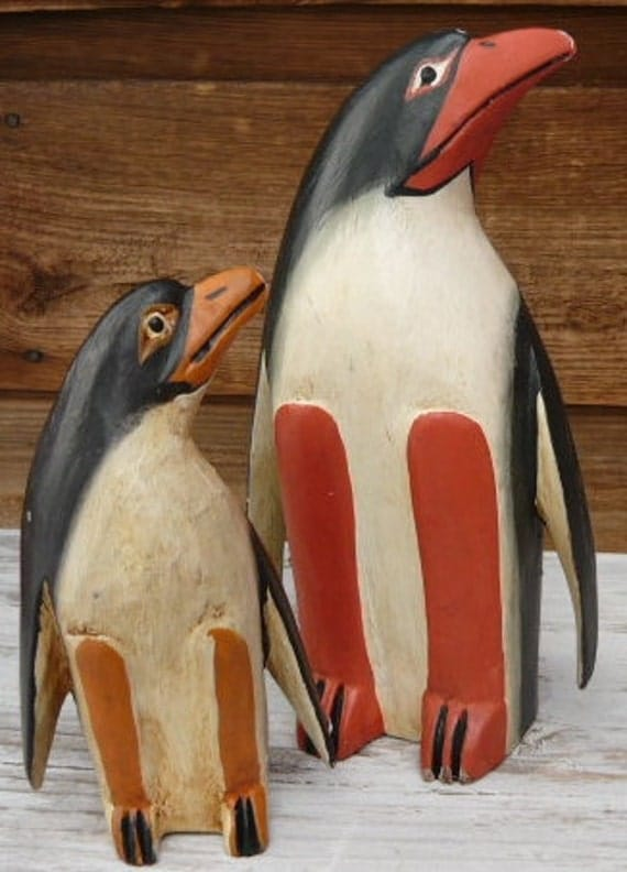 Tribal PRIMITIVE Folk Art Handcarved Wooden Penguins-Mom & Offspring Looking Toward The Sea (Selected For Treasury)