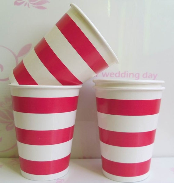 Free shipping  9oz party paper cups, striped paper cups,party supplies, birthday paper cups Color 193C 50pcs