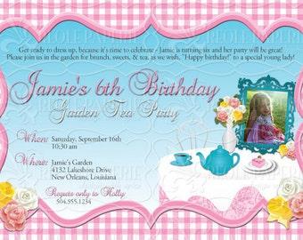 Elegant Tea or Garden Party birthday party invitation