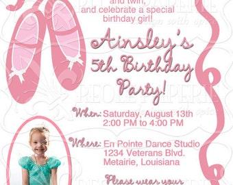 Ballet Slippers birthday party invitation