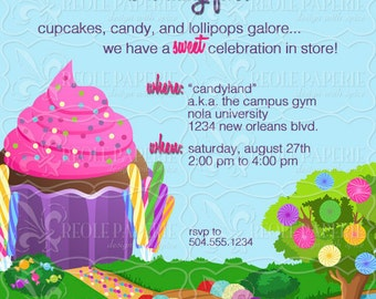 Sweet shop/candy land birthday party invitation