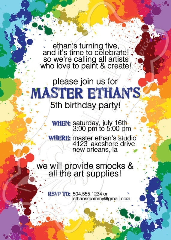 Art Paint Party Birthday Party Invitation Paint By