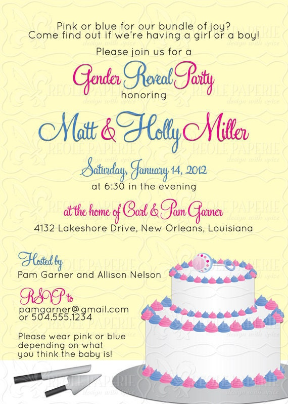 Gender Reveal/Announcement cake baby shower invitation