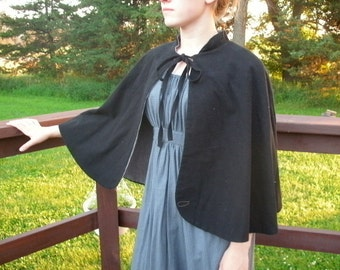 Reversable Historical Capelet--- Custom Made in Your Choice Of Color and Size---