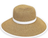 French Laundry Beach Hat Natural with White Band - marshmallowdream