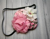 Pink, gray, and white shabby chiffon, rosettes, and hydrangea headband, hair clip, infant, toddler, girl, adult, photo prop