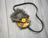 Yellow, gray, and white rosette and shabby chiffon headband, hair clip, infant, toddler, girl, adult, photo prop