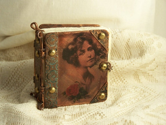Tiny copper journal with vintage image