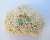 Aqua Blue Sea Glass Stud Earring