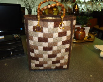 Vintage 1960s Handmade Brown, Beige, Checkered Tote