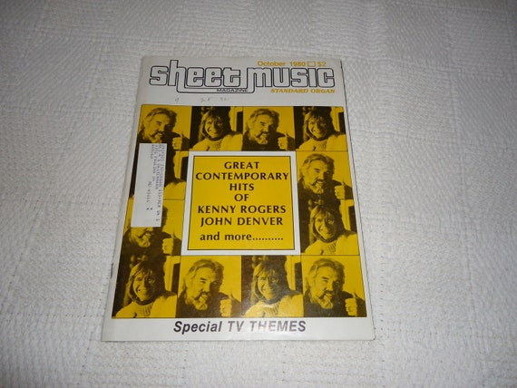 Vintage 1980s Sheet Music Magazine with the Music of Kenny Rogers and John Denver