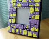 Picture Frame. Purple and yellow tiled mosaic style